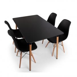 BAM-Meubel Eetkamerset 5-delig Mason + Jaxx Zwart – Eettafel Met 4 Stoelen