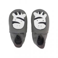 Bobux Babyslofjes Soft Soles Zebra Grijs - 18/19 - Medium