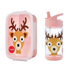3 Sprouts Bento Lunchbox & Drinkfles Hert