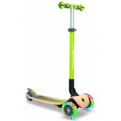 Globber Scooter Vanaf 3 jaar Primo Foldable Lights Wood Groen