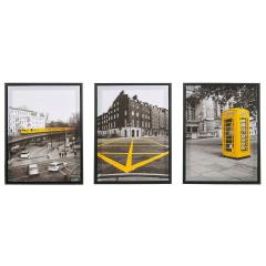 Baytex Canvas Poster Set Yellow City 30 cm x 40 cm - 3 Stuks