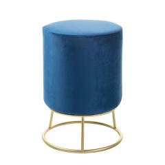 Baytex Pouf en Velours Malmö Ø 30 cm Bleu