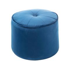 Baytex Pouf en Velours Goa Ø 40 cm Bleu