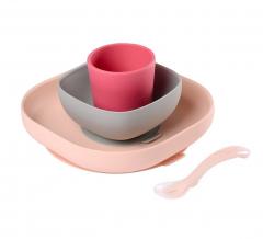 Béaba Set de Vaisselle Silicone Repas Bébé avec Ventouse Rose