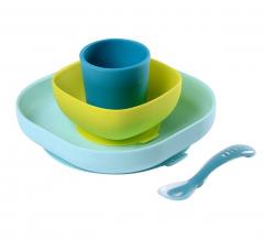 Béaba Set de Vaisselle Silicone Repas Bébé avec Ventouse Bleu