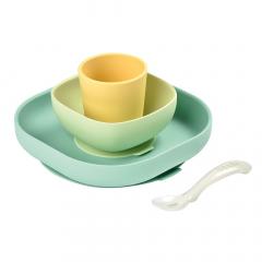 Béaba Set de Vaisselle Silicone Repas Bébé avec Ventouse Jaune