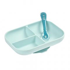 Béaba Assiette Silicone Compartimentée avec Ventouse + Cuillère Bleu