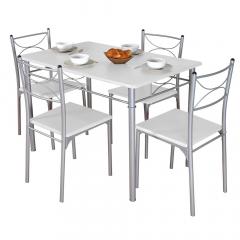 BAM-Meubel Eetkamerset 5-delig Francis Wit – Eettafel Met 4 Stoelen
