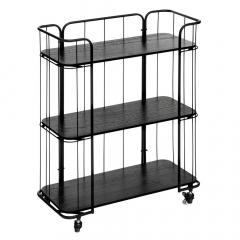 Eazy Living Cabinet Sur Roues Alban 3 Niveaux Noir