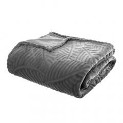 Eazy Living Fleece Plaid Leaves - 220 cm x 240 cm - Gris
