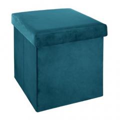 Eazy Living Pouf + Boîte de Rangement Antoinette Bleu