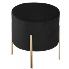 Eazy Living Pouf en Velours Aras Ø 34 cm Noir