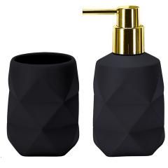 Kleine Wolke Badkamer Set Golden Crackle Zwart