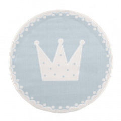 Livone Tapijt Ø 133 cm Happy Rugs Crown Blauw - Wit