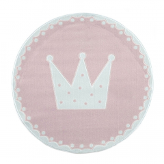 Livone Tapijt Ø 133 cm Happy Rugs Crown Roze - Wit