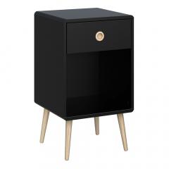 Steens Table de Chevet Softline 1 Tiroir Noir