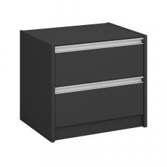 Steens Table de Chevet Skyline 2 Tiroirs Noir