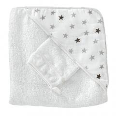 Trois Kilos Sept Cape de Bain & Gant de Toilette Stars 100 cm x 100 cm
