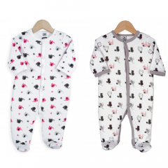 Trois Kilos Sept Pyjama Bébé Set 3 Mois Cat & Pink Elephant