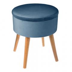 Eazy Living Tabouret avec Boîte de Rangement Dina Ø 36 cm Bleu