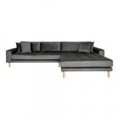 House Collection Velvet Hoekbank Milo Lounge Sofa Rechts Donker Grijs