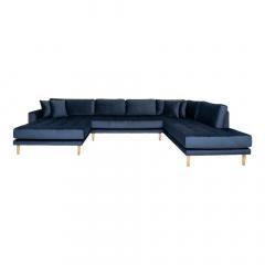 House Collection Velvet Hoekbank Milo U-Sofa met Open Linkse Hoek Donker Blauw