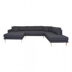 House Collection Hoekbank Milo U-Sofa met Open Linkse Hoek Donker Grijs