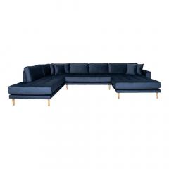 House Collection Velvet Hoekbank Milo U-Sofa met Open Rechtse Hoek Donker Blauw