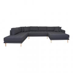 House Collection Hoekbank Milo U-Sofa met Open Rechtse Hoek Donker Grijs