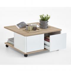 Ipari Table Basse à Roulettes César Blanc - Bois