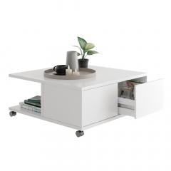 Ipari Table Basse à Roulettes César Blanc