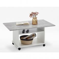 Ipari Table Basse à Roulettes Marcel Blanc -  Béton