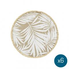 Placemat Bari Ø 38 cm Leaves - 6 Stuks