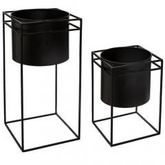 Eazy Living Set de Cache-Pot avec Support Neo Noir