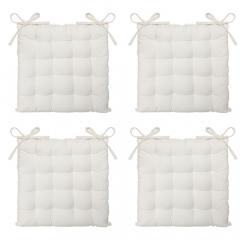 Eazy Living Coussin de Chaise Basile Blanc 38 x 38 cm - 4 Pièces