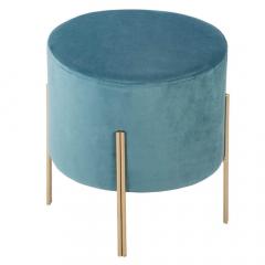 Eazy Living Pouf en Velours Aras Ø 34 cm Bleu