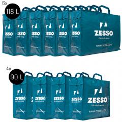 Zesso Big Shopper Maxi Mix Zesso Bag 4x L, 6x XL - Opbergtassen Set van 10 - Verhuispakket