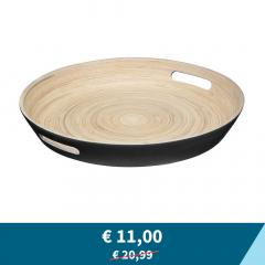 Tweedekans - Eazy Living Bamboe Dienblad Alex Ø 42 cm Zwart