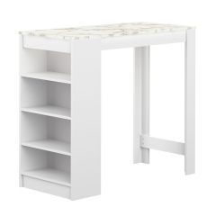 Interia Table De Bar 115 cm Vega Blanc - Marbre